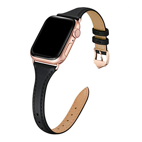 WFEAGL Leather Bands Compatible with Apple Watch 38mm 40mm 42mm 44mm, Top Grain Leather Band Slim & Thin Wristband for iWatch SE & Series 6 & Series 5/4/3/2/1 (Black Band+Rose Gold Adapter,38mm 40mm)