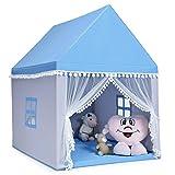COSTWAY Kinderspielhaus Kinderzelt Spielhaus Prinzess Prinzessin, Kinderspielzelt Stoffzelt mit Massivholzrahmen & Baumwolldecke, Kinderspielburg für Jungen Märchen 120x105x140cm (Blau)