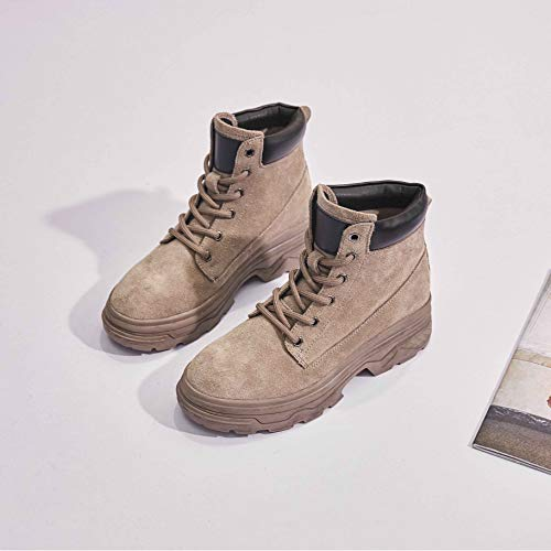 Shukun enkellaarsjes Women'S Shoes Retro Flat Schoenen Wild Street Shot Martin Laarzen 36, Bruin