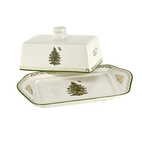 Spode Christmas Tree- Covered Butter Dish (White with Green Trim)- Earthenware