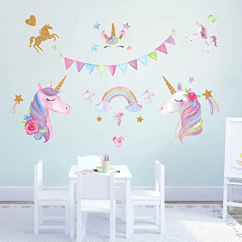 Pegatinas de Pared Unicornio Vinilos Decorativos Pared dormitorio Stickers Extraíble Adhesivos de pared niños Murales Arte Calcomanías, para Infantiles Habitación Salón Dormitorio (unicornio)