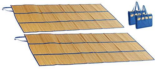 PEARL beach Stranddecke: 2er-Set Faltbare Bast-Strandmatten mit Tragegriffen, 180 x 90 cm (Picknickdecke für Strand)