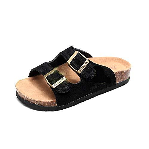 Mujer Sandalias Chanclas Mulas para Zuecos De Corcho Correa Gamuza Ajustable Hebilla Zapatos Planos del Pie Desli (38/39 EU, Negro 2)