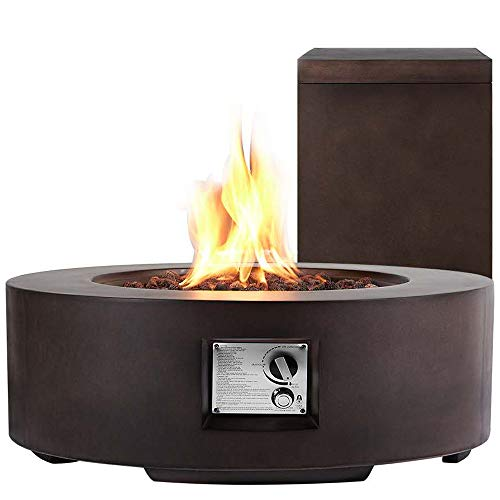 ECOTOUGE 30In Outdoor Propane Fire Pit Gas Table 50,000 BTU Auto-Ignition Gas Firepit and Tank Holder w/ Weather-Resistant Pit Cover, Lava Rocks, CSA Certification, Brown