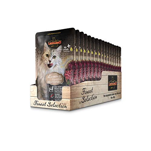 Leonardo Frischebeutel [16x85g Lamm + Cranberries] | Getreidefreies Nassfutter für Katzen | Feuchtfutter Alleinfutter im Einzelportionsbeutel