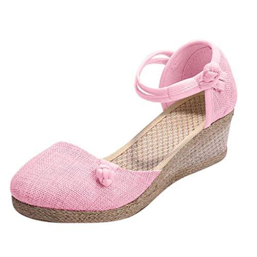 Sandalias Mujer Verano 2019 con Plataforma - Retro Romanas Tejer Paja Zapatos de Cuña - con Altas Tacon 5.5 CM - Talla 34-40 - para Playa Fiesta