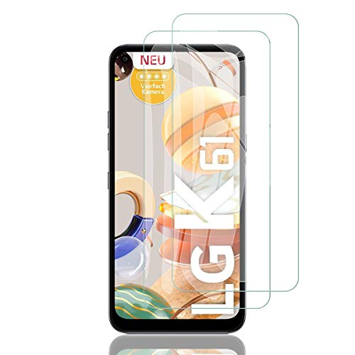ELYCO Protector de Pantalla para LG K51S/K61, [2 Piezas] [Alta Definicion] 9H Dureza Anti-caída/Anti-rasguños Sin Burbujas Cristal Templado Vidrio Templado para LG K51S/K61