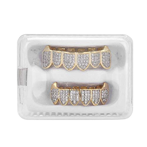 Gold Grillz Zähne Set CZ Diamanten Grillz, Grillz Zähne Set Hip Hop Bling Grillz Zähne Dekoration für Halloween Party Geschenk(#1)