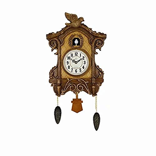 SMC 27 Inch Resin Cuckoo Clock for Living Room Kitchen Home Decoration, Vintage Style Cuckoo Clock