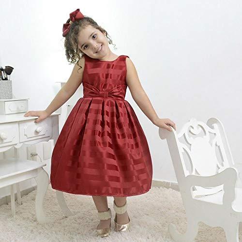 Vestido de Festa Infantil vermelho bordô