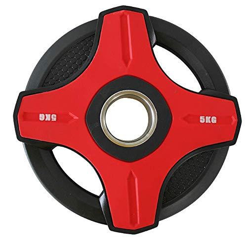 FGVDJ Placas de Pesas con Barra 2.5-20KG Disco de Poliuretano ecológico 5 cm Agujero Central Olympic Standard Tri Grip Radial Home Fitness Gym