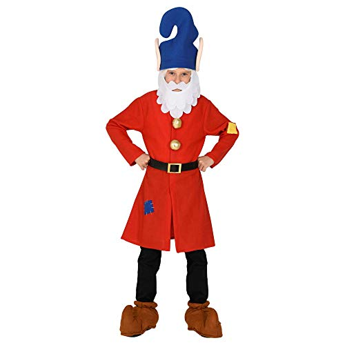 WIDMANN 10636 - Disfraz infantil de enano, parte superior, cinturón, gorro con barba, gnomo, gnomo, cuento de hadas, fiesta temática, carnaval