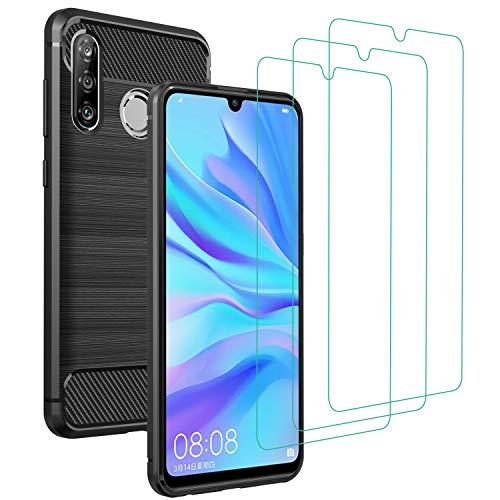 iVoler Cover per Huawei P30 Lite/New Edition/Honor 20s con 3 Pezzi Pellicola Vetro Temperato, Fibra di Carbonio Nero Custodia in Morbida Silicone TPU Anti-Graffio Antiurto Protettiva Case