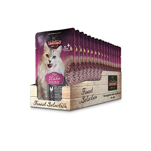Leonardo Frischebeutel [16x85g Huhn pur] | Getreidefreies Nassfutter für Katzen | Feuchtfutter Alleinfutter im Einzelportionsbeutel