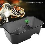 SONK Tanque de Tortuga, Tanque de Peces Abierto Transparente, hábitat de Tortuga, Tanque de Acuario de Reptil Reutilizable, fpr, pez de Oficina para Tortuga casera(Black)