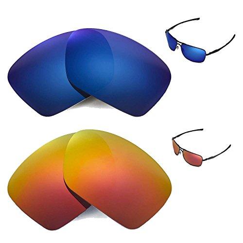 Walleva Polarisierte Feuerrot + Eisblaue Gläser für Oakley Plaintiff Squared