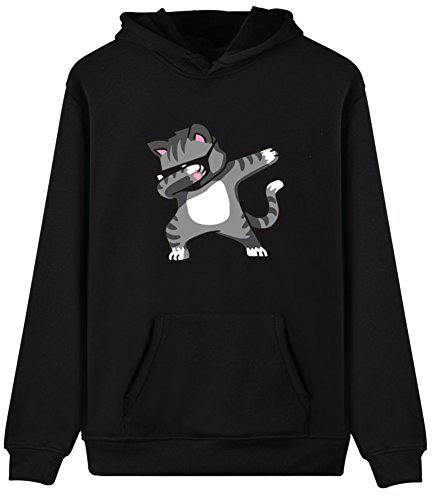 EUDOLAH Femme Pull Sweat-Shirt à Capuche Autonome Animaux imprimés Manches Longues Chat Noir M