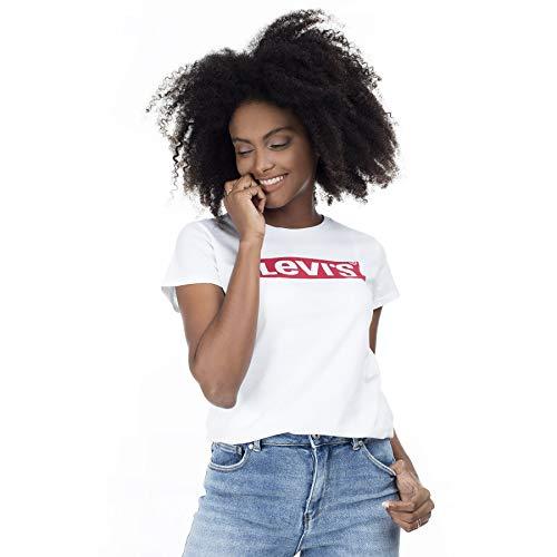 Levi's The Perfect tee Camiseta, New Red Box Tab White, XXS para Mujer