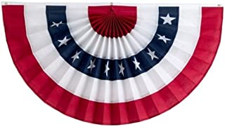 Independence Bunting – 1 1/2' x 3' American Made Cotton Flag Bunting. Fully Sewn Stars & Stripes Patriotic Bunting Banner!