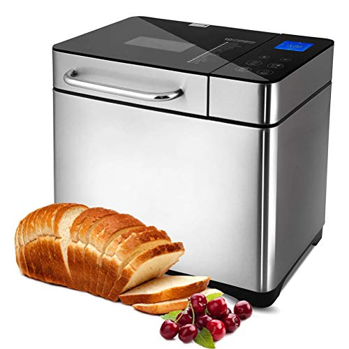 VIVICL Bread Machine Automatic Stainless Steel Multifunction Viewing Window Toaster Gluten Free, 15 Menus, 15 Hour Delay Timer, 1H Keep Warm Bread Maker