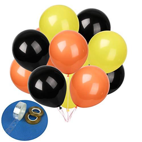 Construction Birthday Party Balloons 60 pcs 12 inches Latex Balloons Birthday Party Decoration Set (Black Yellow Orange)