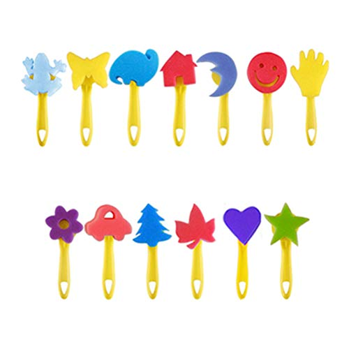 36 stuks sponsjes schilderpenseel stempel penseel set schmink kinderen voortrekking tekening gereedschap schilderspons waterdicht schort voortrekking voor kunst handwerk DIY