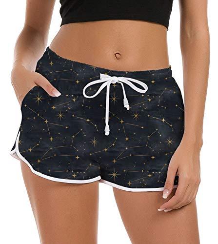 Rave on Friday Shorts de Baño para Mujer Gráfico 3D Shorts de Playa Traje de Baño Verano Parte Inferior de bañador Cintura Alta Pantalones Deportivos Workout con cordón Ajustable, Negro L