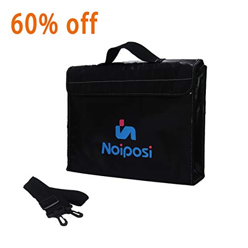 """Noiposi Fireproof Document Bag,JUNDUN Fire and Water Resistant Money Bag(15""""x11""""x3"""") with Shoulder Strap,Silicone Coated Fiberglass,Zipper,Velcro Closure for Maximum Storage"""