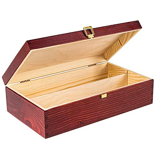 Creative Deco Rote Wein-Kiste aus Natürliches Kiefern-Holz | Wein-Box für 2 Flaschen mit Deckel und Verschluss | 35 x 20 x 10 cm | Perfekt für Lagerung, Dekoration oder als Geschenk-Holzkiste