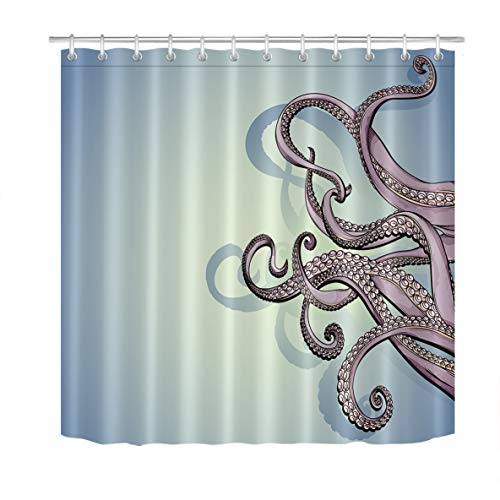 LB Octopus Shower Curtain Ocean Theme Horror Sea Creature Squid with Tentacles Kraken Bathroom Decor 78x72 Inch Waterproof Fabric with 12 Hooks,Teal