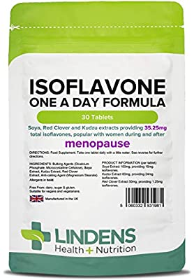 Lindens Isoflavone One A Day Formula (SOYA+) Tablets - 30 Pack - Contains Red Clover & Kudzu, Popular with Women During and After Menopause - UK Manufacturer, Letterbox Friendly