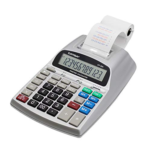 Commercial Printing Calculator with 12 Digit LCD Display Screen, 2.03 Lines/sec, Two Color Printing, Adding Machine for Accounting Use, AC Adapter Included (Silver)