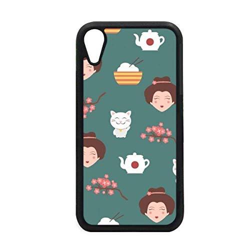 Cat Sakura rijst theepot Japan iPhone XR iPhonecase Cover Apple telefoonhoesje