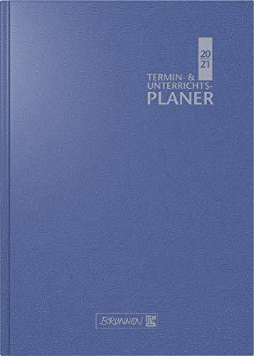 BRUNNEN 1075960301 Wochenkalender/Lehrerkalender, Termin- & Unterrichtsplaner 2020/2021, 2 Seiten = 1 Woche , Überformat A5: 17 x 24 cm , Baladek-Einband , blau