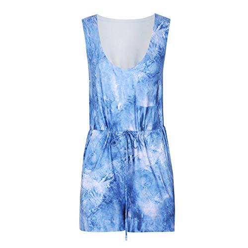 TENDYCOCO Vrouwen Jumpsuit Casual Mode Effen Kleur Korte Jumpsuit Een Stuk Broek voor Vrouwen Dames L Hemel-blauw