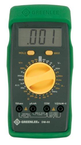 Greenlee DM-60 Manual Ranging Multimeter, 600-Volt AC/DC