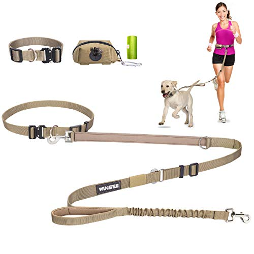WINSEE 5 in 1 Hands Free Dog Leash Set 4pcs for Walking, Retractable Running Leash/Pet Collar/Poop Bag Holder & Adjustable Waist Belt, Reflective, Dual Padded Handles,for Training, Driving,or Jogging