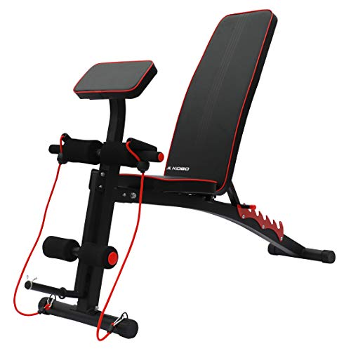 Kobo EB-1012 Steel Adjustable Dumbbell Bench with Preacher Curl for Home Gym (Imported) (Black/Red)