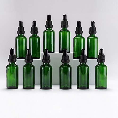 Yizhao Verde Frasco Cuentagotas Cristal 50ml, Botellas Cuentagotas con [Pipeta Cuentagotas Cristal], para Aceite Esencial, Masaje,Fragancia, Aromaterapia, Laboratorio - 12Pcs