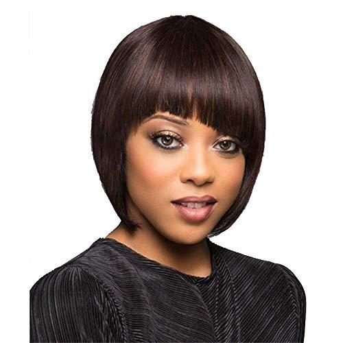Perruques Afro Cheveux Humains Pour Black Court Wavy éLastique Noir Bobo Wig Sexy Mode Chic Pas Cher Postiches (Noir)