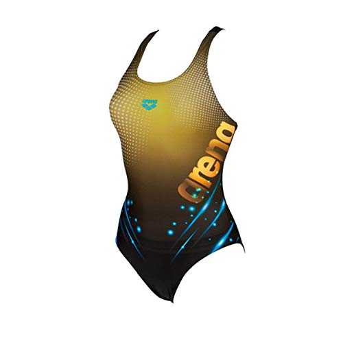 arena Damen Sport Badeanzug Daydreamer, black-yellow star, 42
