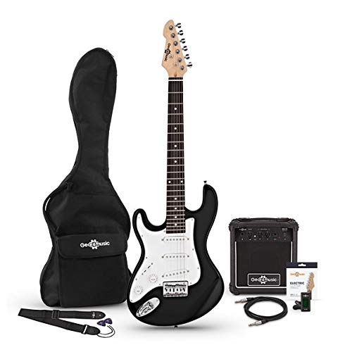 Guitarra Electrica LA 3/4 Zurda + Paquete de Amplificador de 10 W Negro