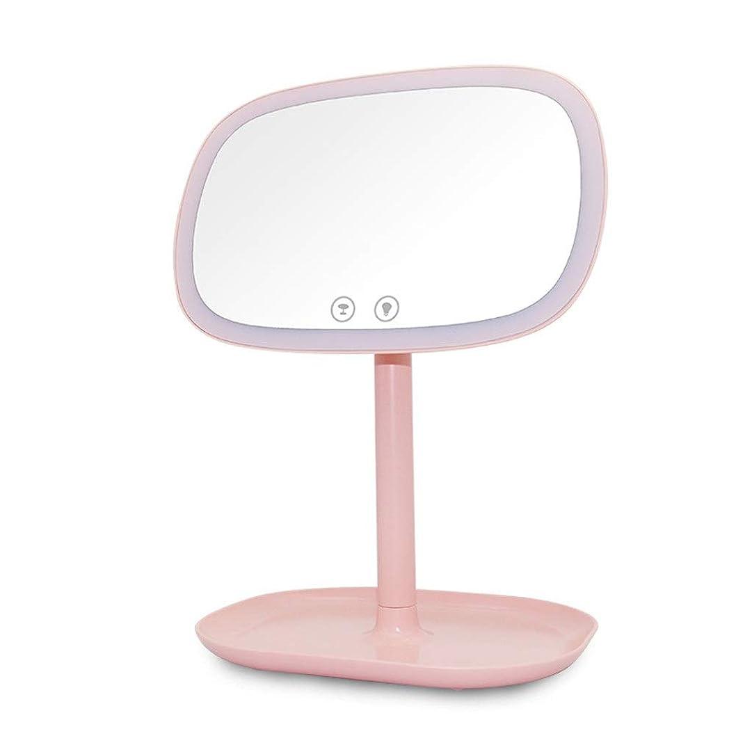 将来のそれによって規定化粧鏡 10倍虫眼鏡充電式タッチ付き360度回転テーブルミラーLEDテーブルランプナイトライト付き化粧鏡 照明化粧鏡 (色 : ピンク, サイズ : ワンサイズ)