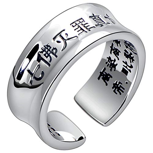 Aienid Rings Engagement 925 Buddhist Ring Engraved Words Ring for Men Size 62 (19.7)-70 (22.3)