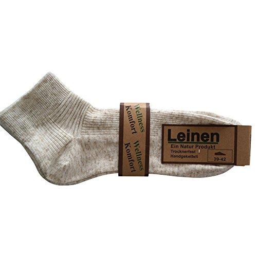 Leinen 6 Paar Kurzschaft Socken Füsslinge Baumwolle Naht Wellness (43-46)