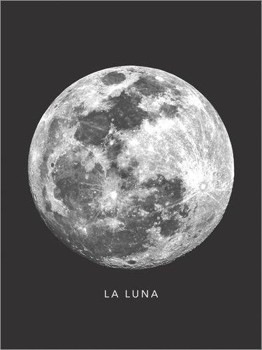 Poster 30 x 40 cm: La Luna - der Mond von Finlay and Noa - hochwertiger Kunstdruck, neues Kunstposter