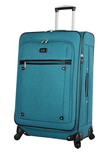 Nicole Miller Designer Luggage Collection - Expandable 24 Inch Softside Bag - Durable Mid-sized Lightweight Checked Suitcase with 4-Rolling Spinner Wheels (Rosalie Teal)