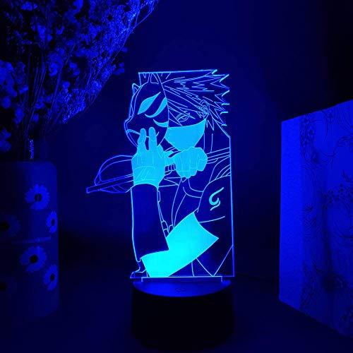 3D Nachtlicht Illusionslampe, Hatake Kakashi Figur Nachtlicht Anime LED Lampe Manga Art Beleuchtung Dekoration für Otaku Home Kids Schlafzimmer Deco 16 Farben