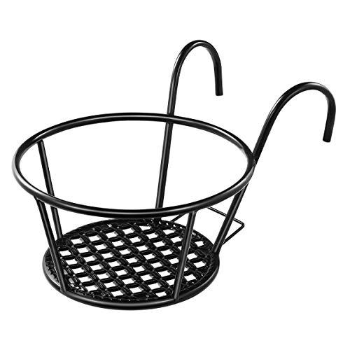 Yardwe Macetas de balcón para colgar, macetero para barandilla, macetas para valla, de hierro para flores, recipiente 16,5 x 10,5 x 20 cm (negro)