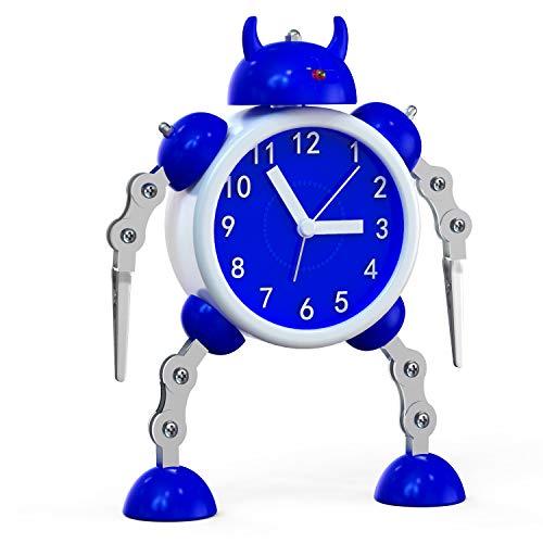 Kinderwecker Jungen, Roboter Wecker Kinder Analoge Wecker Ohne Ticken Lautloser Wecker für Jungs Mädchen Jungen (blau-01)